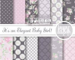shabby chic paris digital paper pink black roses classy