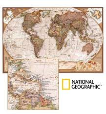 National Geographic Map World Executive Ngs Buy Antique Look World Map Mapworld
