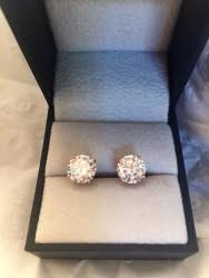 moissanite earrings 1 00 ctw 14k c c bezel moissanite earrings earrings