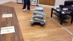 Pallet Of Laminate Flooring Effect Of A 400kg Pallet Truck On An Iobac Floor Youtube