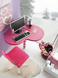 bedroom lovable candy pink love shape wooden computer desk