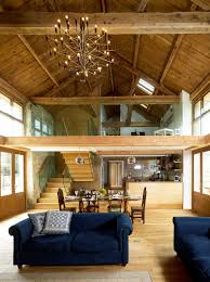 barn conversion interior with double height living space and