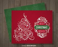swirl christmas card design vector download
