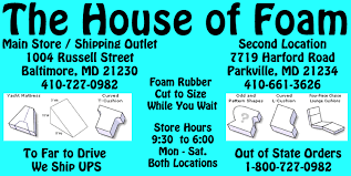 Custom Cut Upholstery Foam House Of Foam Cut Foam To Any Shape Or Size Baltimore 410 727