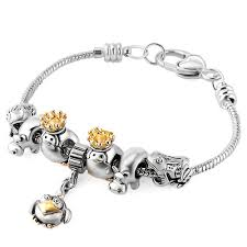 clasp bracelet charms images Two tone crown penguin cow frog animal owl charm dangle spacer jpg
