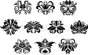 black ornamental floral design elements with stylized flowers