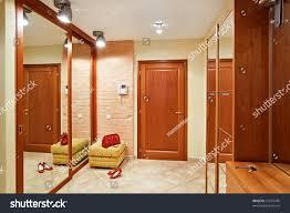 elegance anteroom interior warm tones hallstand stock photo