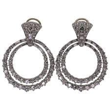 hoop diamond earrings hoop diamond earrings for sale at 1stdibs