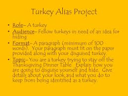 turkey alias project you will receive two grades for this
