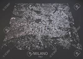 Satellite View Maps Milan Map Satellite View Map In Negative Stock Photo Picture And