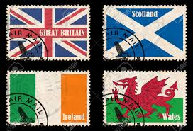 British Flag Nickname Set Of Self Designed Stamps With Flags From The British Isles