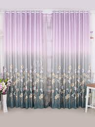 romantic multi color floral print polyester trendy curtains and