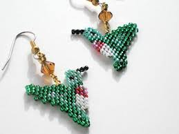 Ruby Red Long Brick Stitch Cheeky Little Hummingbird Earrings Brickstitch Cheyenne Beaded