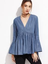 denim blouses denim tops womens denim tops sale shein sheinside