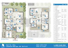 floor plan of west yas villas yas island 5 bedroom villa type 3b 5505 sq ft floor plan west yas yas island