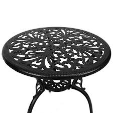 Cast Aluminium Garden Table And Chairs Black Cast Aluminium Bistro Set With Red Cushions Buydirect4u