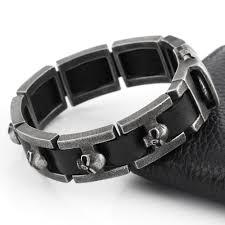 leather bracelets for men 2016 new genuine leather bracelet men stainless steel bracelet