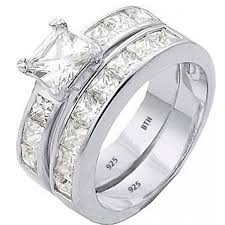 Sterling Silver Wedding Ring Sets by 925 Sterling Silver Channel Band Wedding Engagement Ring Set