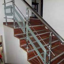 Glass Stairs Design Stainless Steel Railings With Glass Designs At Rs 400 Square