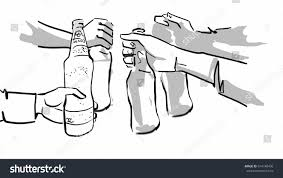 beer cheers cartoon clink bottles sketch drinking beer cheers stock illustration