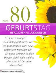 geburtstagssprüche zum 80 schlichte geburtstagskarte mit sonnenblumen zum 80 geburtstag