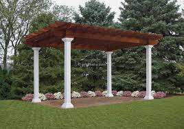 White Vinyl Pergola by Artisan Vinyl Pergolas Amish Mike Amish Sheds Amish Barns