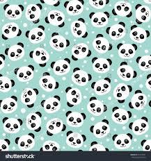 fun halloween repeating background cute panda face seamless cartoon wallpaper stock vector 417610561