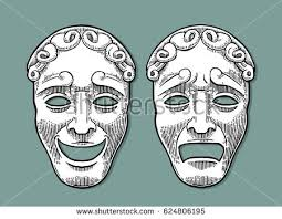 vintage masks comedy tragedy theater masks vector engraving stock vector
