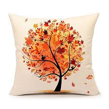 Sofa Pillow Cases Autumn Fall Tree Cotton Linen Square Throw Pillow Case Decorative