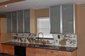blurred glass kitchen cabinet shelves faced off exquisite abstract
