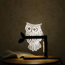 Bedroom Lighting Uk 3d Acrylic Owl Nightlight Visual Led Lights For Home Bedside