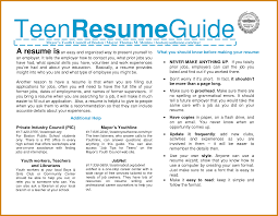 Teen Job Resume Teen Resume Sample Free Resume Example And Writing Download