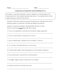 adverb lessons writing comparative and superlative adverb worksheet cards