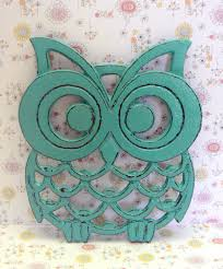 cast iron owl trivet aqua turquoise shabby chic woodland kitchen