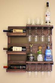 wine glass cabinet wall mount rustic dark cherry stained wall mounted wine rack with shelves and
