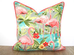 coral outdoor pillow cover flamingo decor tropical outdoor
