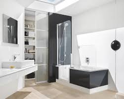 stylish white floating sink cabinet combo and black walk in bath