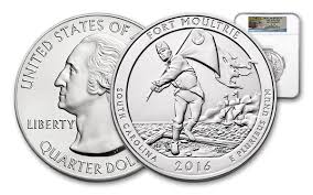 Moultrie Flag 2016 25 Cent 5 Oz Silver Fort Moultrie Atb Ngc Sp70 Fr Coin
