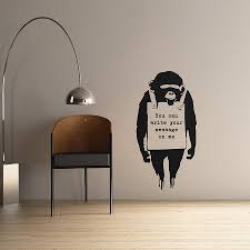 personalised banksy monkey sign wall sticker by the binary box personalised banksy monkey sign wall sticker