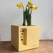 green u0026 blue mini beepot concrete planter bee hotel black by design