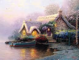 kinkade lochaven cottage painting anysize 50