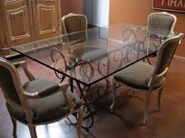 Dining Room Wrought Iron Pedestal Table Base Ideas Twotinascom - Glass dining room table bases