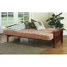 folding futon bed mission style wood convertible sofa arm couch