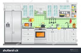 flat room vector illustration indoor kitchen stock vector