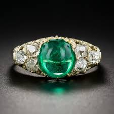 emerald jewelry rings images Antique cabochon emerald and diamond ring jpg