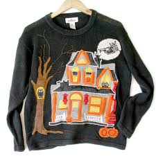 sweater house creepy haunted house tacky sweater the
