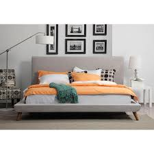 nord modern beige linen platform bed eurway furniture