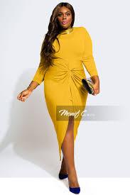 Plus Size Clothes For Girls Monifcplussizes Gigi Knotted Dress Mustard Frock It Pinterest