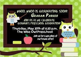 preschool graduation invitations digital preschool kindergarten wise owl graduation invitation
