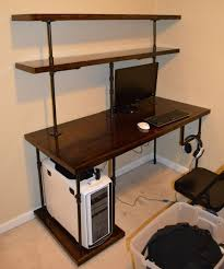 Tall Computer Desk With Shelves Expedit Shelving U0026 Computer Desk Hack Ikea Hackers Intended For